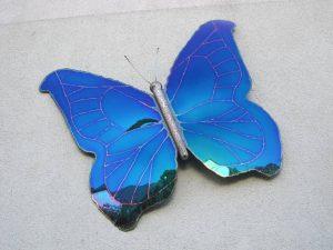 Metallkunst Schmetterling blau